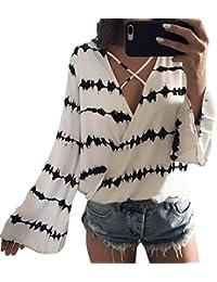 Lilicat Damen Chiffon Langarm Shirt Elegant V-Ausschnitt Slim Bluse Frauen  Casual T-Shirt Lose Chic Tops Krawatte… 3b2795bf47