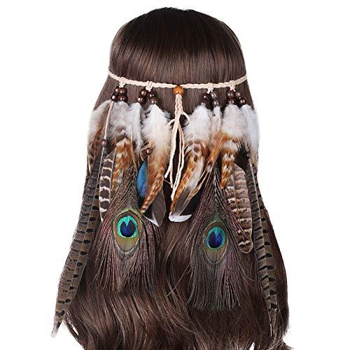 Damen Hippie Boho Indianer Stirnband Feder Stirnbänder für Abendkleider Halloween Karneval