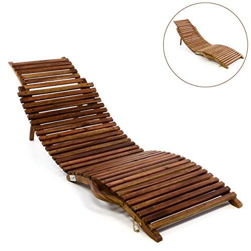 Divero Luxus Relaxliege Sonnenliege Strandliege Gartenliege Aus Teak Holz/Akazie  Mehrfach Verstellbar Behandelt Braun
