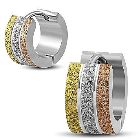 Bungsa® 7Sand Blasted Hoop Earrings, Colour Silver Gold Hinged Hoop Earrings–1Pair Stainless Steel Earrings Huggies Men's Unisex Earrings Ear Stud Earrings Women Earrings
