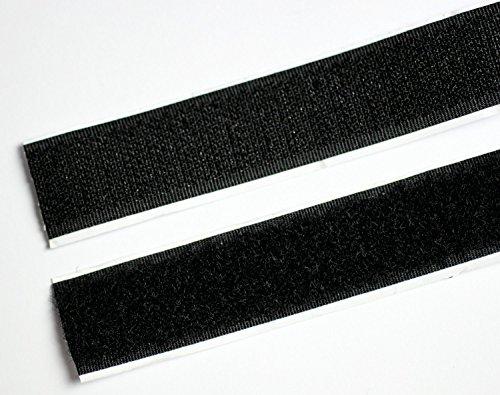 5m Klettband selbstklebend, Flausch & Haken, 20mm breit, schwarz