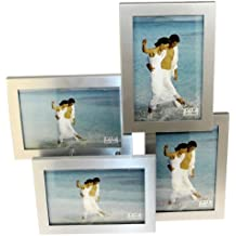 4 De Imagen De Plata Satinado De Aluminio Cepillado De Color Plegable De Múltiples Marco De Fotos - 4 Fotos De 10 X 15 Cm