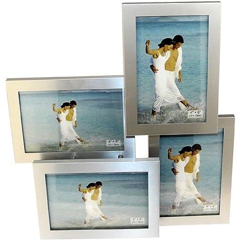4 Foto A Colorei Argento Rasoato Alluminio Spazzolato Pieghevole A Più Foto Picture Cornice - 4 Foto Di 10 X 15 Cm