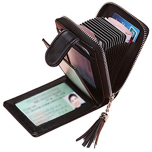 96d3d570dadbfe Porta Carte di Credito Donna SAMKING Genuino del Titolare della Carta di  Credito in Pelle RFID Schermato Portafoglio Cerniera Portamonete (Nero)