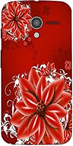 Snoogg Red Flowers Illustration Designer Protective Back Case Cover For Motor...