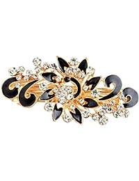 Kingken – Haarspange/Haarnadel für Damen, schickes Blumenmotiv aus Strass, Haarspange mit Federung, Schwarz