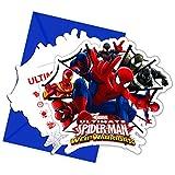 6 Tarjetas de invitación con sobres Spiderman