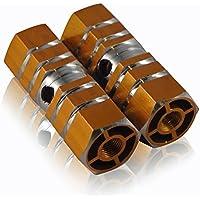 LUPO® Reposapiés – Ejes de Apoyo de Pies para BMX/Escúter – Hexagonales, de Aleación para Uso Intensivo - Paquete con 2, Oro