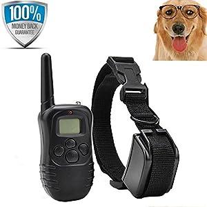 [Nouvelle Version] Flydog distance chien formation collier Rechargeable et étanche Anti aboiement Collier avec bip sonore et Vibration non-Shock collier et à 300 mètres de plage + GRATUIT PET VOYANTS [1 collier]