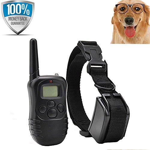 [Nueva versión] Flydog remoto perro formación Collar recargable e impermeable Anti ladridos Collar con gama de sonido y vibración No Shock Collar y 300 metros + GRATIS LUCES de PET [1 collar]