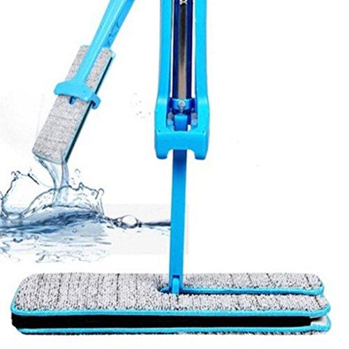 Rcool Bodenwischer Bürsten Doppelseitiger Mikrofaser-Flachmopp, Easy Self Wringing Nass- und Trocken-Klappmopp zur Reinigung von Eck-, Bad-, Küchen-, Fliesen- und Holzböden (Flacher MOP(Blau))