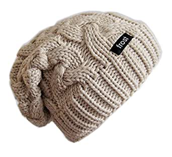 Frost Hats Winter Hat for Women Slouchy Beanie Cable Hat Knitted Winter Hat Frost Hats BEIGE