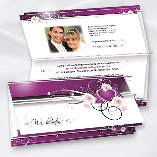 TATMOTIVE Einladungskarten für Hochzeit lila - selbst bedruckbar, 20 Sets, inkl. Briefumschläge