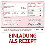 Einladungskarten zum Geburtstag (50 Stück) als ärztliches Rezept Medizin Verschreibung