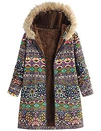Abrigo Mujer Invierno Rebajas Impreso más Grueso Chaqueta EUZeo Talla Grande Suelto Suéter Abrigo Mujeres Hoodie