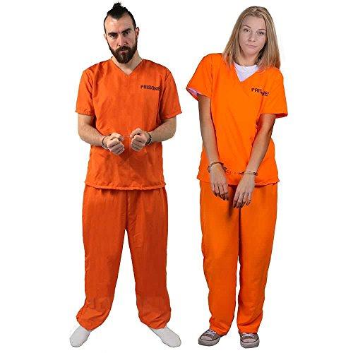 ILOVEFANCYDRESS STRÄFLINGS Paar KOSTÜM VERKLEIDUNG+2 Paar Handschellen=Aufschrift Prisoner=ELASISCHER HOSENBUND=GEFÄNGNISS Fasching Karneval JUNGGESELLENABSCHIED=SMALL+SMALL