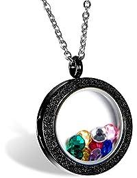 OIDEA Collar de Memoria para Mujer con Colgante Redondo Flotante Joyería Elegante Marco de Foto de Acero Inoxidable Mate Cierre Magnético, Negro, Plata