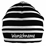 Mütze blau weiß gestreift mit Namen oder Text personalisiert für Baby oder Kind aus 100% Baumwolle mit UV-Schutz