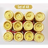 TiedRibbons® Matki Candles | Diwali Decorations Light For Home | Tealight Diya | Diya Gift Set | Diwali Tea Lights (Set Of 48, Golden)