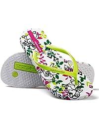 Hotmarzz Chanclas para Mujer Verano Playa Piscina Ducha Hojas Flor Asimétrico Sandalias Flip Flops