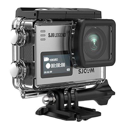 SJCAM SJ6 Legend WIFI 4K 16MP Action Kamera mit 2.0 HD Touchscreen 0.9 Front LCD Screen 170 ° Weitwinkel Gyro Stabilisierung Externes Mikrofon Fernbedienung Wasserdichte Unterwasser (Silber)