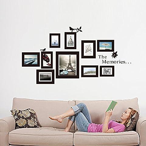 Kicode Wandaufkleber 10x Bild Fotorahmen Schwarze Kunstrahmenaufkleber DIY Art Abnehmbar Living Bed Room Home Dekoration