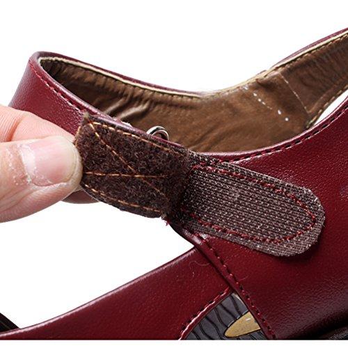 YoungSoul Sandales Confort Femme avec Nœud Sur le Devant, Tongs en Cuir PU Chaussure Plates Ete Rouge