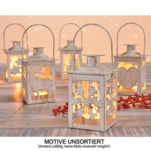 designfun Weihnachten Dekoration TEELICHT-Laterne AUS Messing 7 x 11 cm MIT VERSCHIEDENEN Motiven