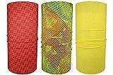 Hilltop 3 x Motorrad Multifunktionstuch, Kopftuch, Halstuch, Bandana 3-er Set in ausgewählten Designs, 3er Set/Farben:Grün Gelb