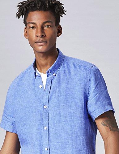 FIND Herren Maßgeschneidertes Leinen-Hemd Blau (Cornflower Blue)