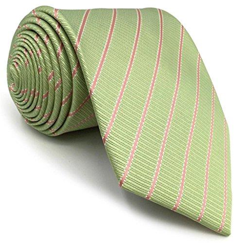 Shlax&Wing Light Grün Olive Streifen Krawatte Seide For Herren Neu Entwurf Classic Extra Lang