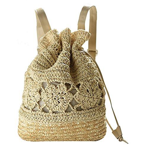 Imagen de leisial casual moda de  bolsa de paja playa verano vintage bolso de viaje pura mano de ganchillo straw bag para mujeres color beige