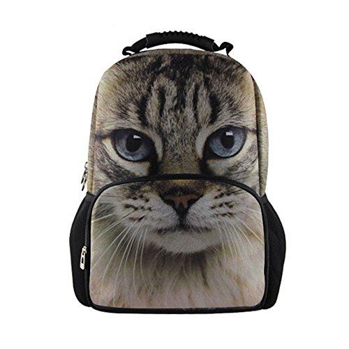 HUGS IDEA Cute Animal Cat Backpack Women School Travel Sport Bagpack