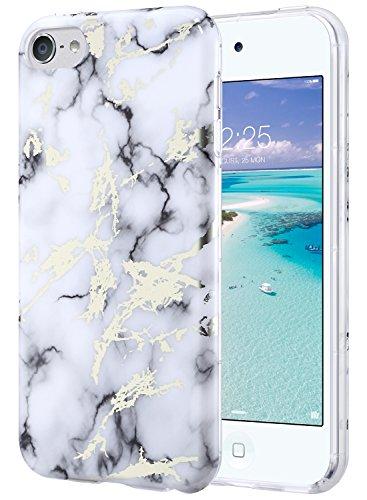 Hülle, iPod Touch Case Weiche Silikon TPU Schutzhülle Stoädämpfung Bumper und Anti-Kratz PC Zurück Case Cover für iPod Touch 5 6 Generation(IML Marmor) ()
