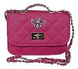 Trachtentasche Umhängetasche fürs Dirndl - Antikstil Applikation - Tasche aus PU Leder (Pink)