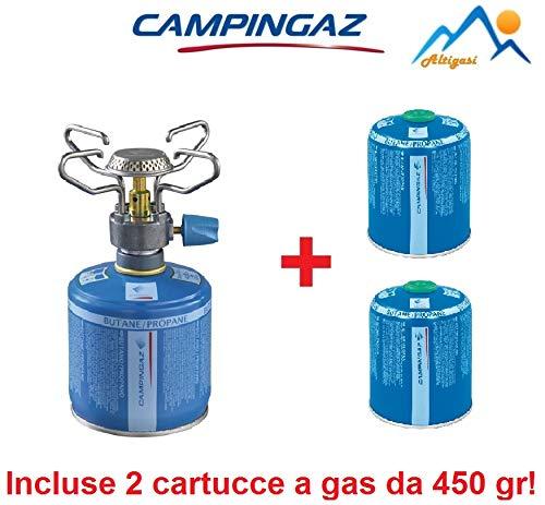ALTIGASI Hochlehner für Camping, BLEUET Micro Plus - Marke CAMPINGAZ + 2 Kartuschen A Gas CV 470 mit abnehmbarem System - Ideal für Camping