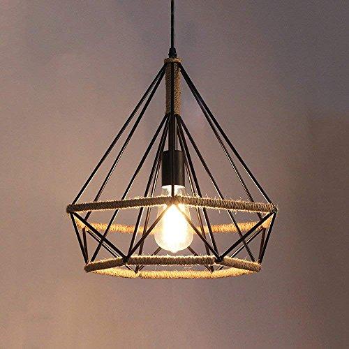 DEE Kronleuchter-WSH Vintage Pendelleuchte Kit Retro Industrie Deckenleuchte Loft Industrielampe Black Diamond und Schmiedeeisen Lampenschirm - Antik Kronleuchter E27,S-25 * 26 cm -