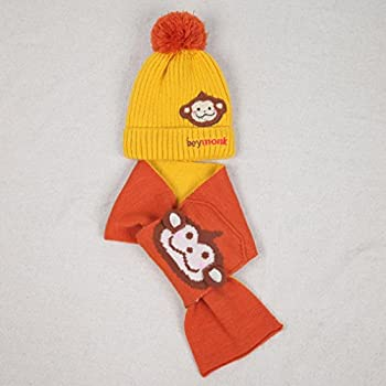 Kids Scarfs & Hats, Transer® Baby Boys Girls Scarves & Hats Infants Winter Warming Knitted Scarf Toddlers Cartoon Monkey Caps (Yellow) 1