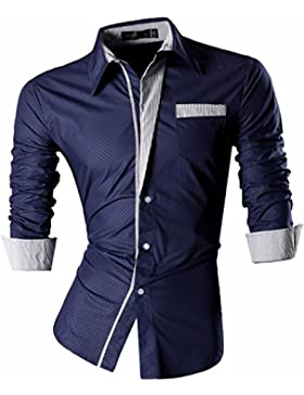 jeansian Uomo Camicie Maniche Lunghe Moda Men Shirts Slim Fit Causal Long Sleves Fashion Z024 Navy M
