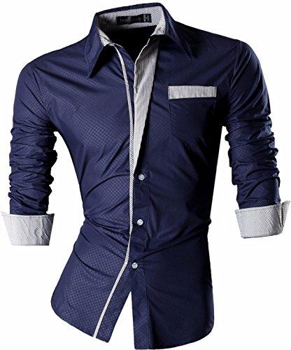 Jeansian uomo camicie maniche lunghe moda men shirts slim fit causal long sleves fashion z024 navy xxl