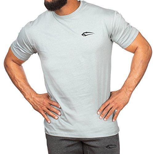 SMILODOX Slim Fit T-Shirt Herren 'Base'| Kurzarm | Casual Top | Funktionsshirt für Sport Fitness Gym & Training | Trainingsshirt - Laufshirt - Sportshirt mit Logo, Farbe:Blau, Größe:S - Logo Slim Fit Kurz