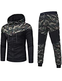 836decf4aa94 Pingtr Mens Camouflage Gym Full Tracksuit Jogging Bottoms Hoodie Top Set  Joggers Tracksuit Bottoms M-