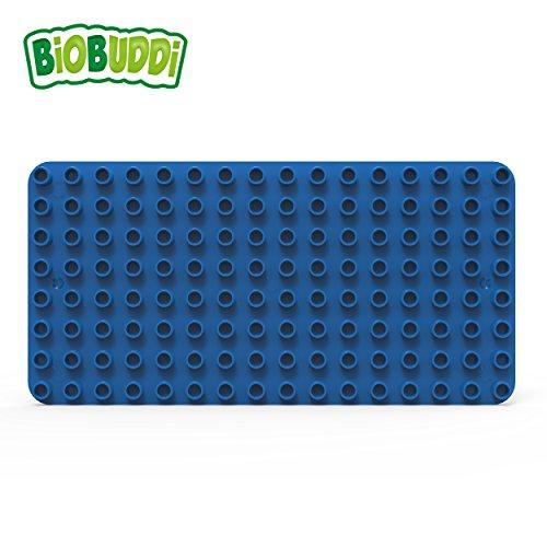 BiOBUDDi BB-0017 Blue Lernbaustein Grundplatte Blau; biologische Bausteine zum Stecken kompatibel zu anderen Marken; hergestellt aus Bio-Kunststoff; besonders umweltfreundlich; ab 1,5 Jahren -