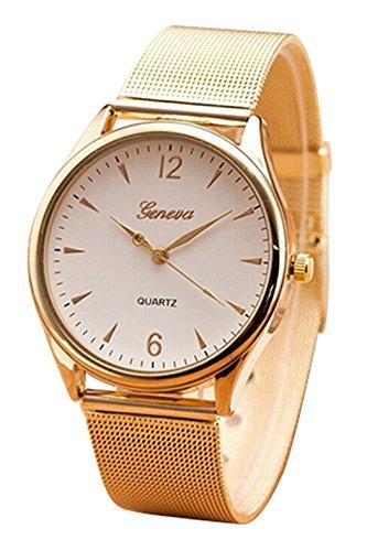 GENEVA Gold- Toenung Netz Band runde Zifferblatt Armbanduhr