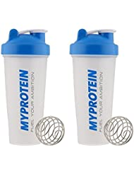 Myprotein Unisex Shaker Bottle (Pack of 2), Blue/Clear, 600 ml