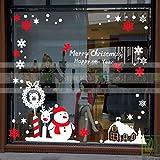HAPPYLR Weihnachtsdekoration Fensteraufkleber Jahr Wandaufkleber Schneemann Aufkleber Schneeflocken Weihnachten Schaufenster Glastür Aufkleber, Weiß + Rot, Mittel