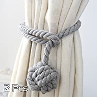A Pair of Hand Knitting Curtain Rope Clips Holder Curtain Tie Back with Single Ball (Grey)