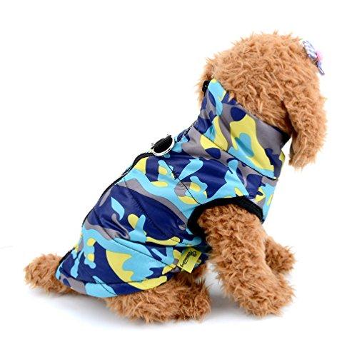 Imagen de selmai camo pequeño perro gato chaqueta de invierno chaleco acolchado pet puppy disfraz de camuflaje con arnés doggie chihuahua ropa de invierno ropa azul l alternativa