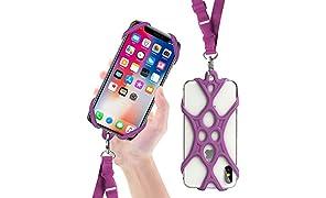ROCONTRIP Funda de Silicona para Teléfono con el Cordón Manos Libres para el iPhone 6 6S 6 Plus iPhone 6S Plus, iPhone 7 y 7 Plus, Samsung, de 4.7-5.5 Pulgadas (Loto púrpura)