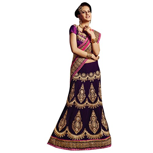 Splendid Purple Colored Embroidered Velvet Net Lehenga Saree by Triveni  available at amazon for Rs.7663